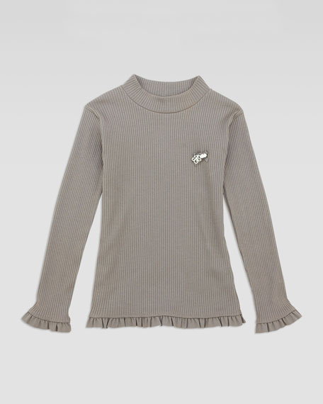 Ribbed Mock-Neck Tee, Brown, Sizes 2-5