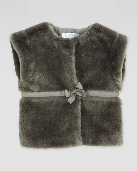 Faux-Fur Bow-Waist Vest, Sizes 2-5