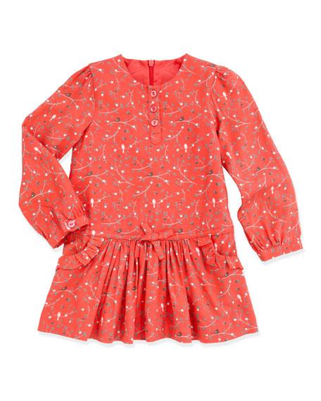 Floral-Print Twill Dress, Pink, 2T-5