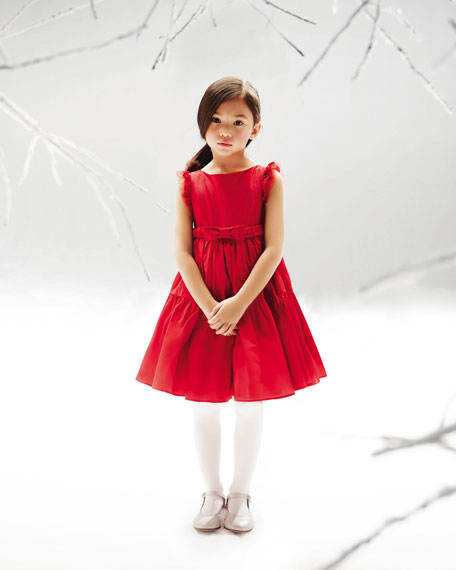Taffeta Bow-Belt Tiered Dress, Red, Sizes 2T-5