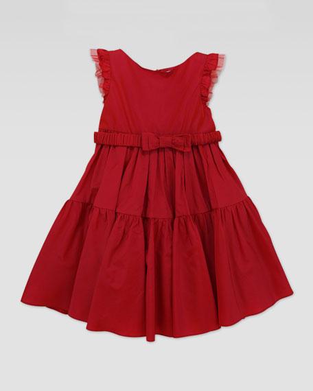 Taffeta Bow-Belt Tiered Dress, Red, Sizes 2T-5