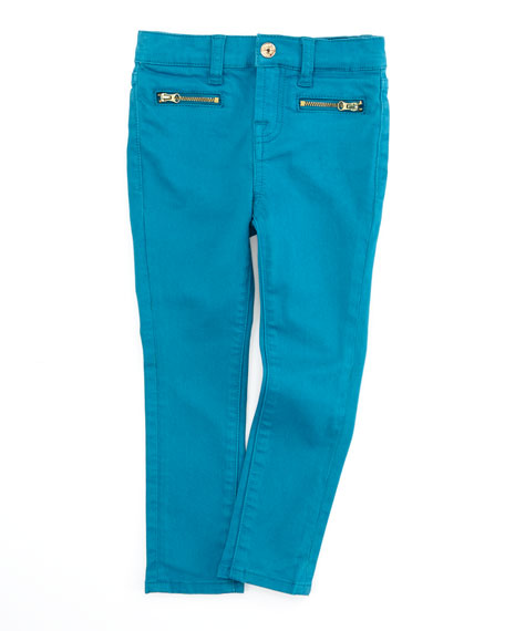The Skinny Enamel Blue Jeans, Sizes 8-10