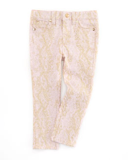 7 For All Mankind The Skinny Snake Jeans, Pink/Gold, Sizes 8-10