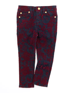 7 For All Mankind The Skinny Velvet Floral Jeans, Sizes 4-6X