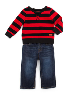 7 For All Mankind Striped Sweatshirt & Standard Fit Jeans Set, 12-24 Months