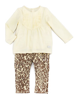 Vince Pintucked Top & Cheetah Print Jeans Set, 12-24 Months