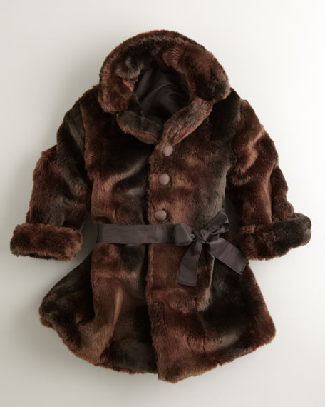 Reversible Faux-Fur Coat, Black/Brown, Sizes 4-6X
