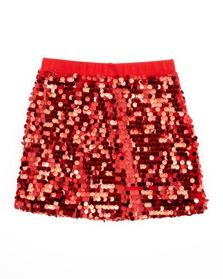Sequin Mini Skirt, Red, Sizes 2-6X