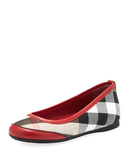Burberry Kid Parade Ballerina Flat, Red, EU Sizes 27-34