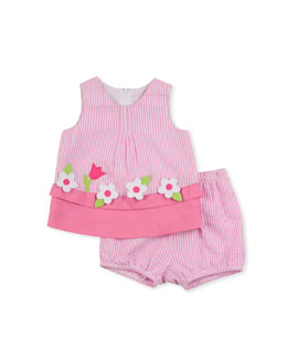 Florence Eiseman Windowbox Floral Seersucker Dress & Bloomers Set, Pink, 12-24 Months