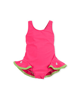 Florence Eiseman Watermelon Slice One-Piece Swimsuit, Red, 12-24 Months