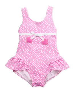 Florence Eiseman Heart One-Piece Swimsuit, Pink, 12-24 Months