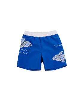 Florence Eiseman Shark Water Swim Trunks, Blue, 12-24 Months