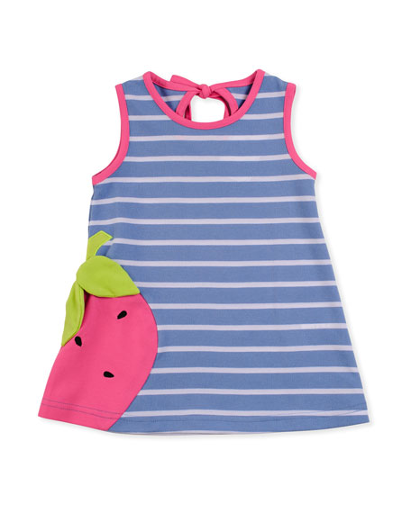 Strawberry Striped Knit Dress, 2T-4T