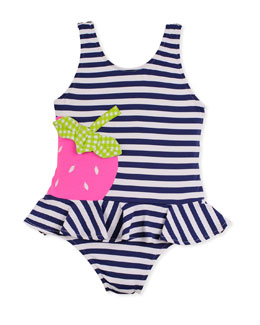 Florence Eiseman Strawberry Festival Swimsuit, White/Navy, 2T-4T