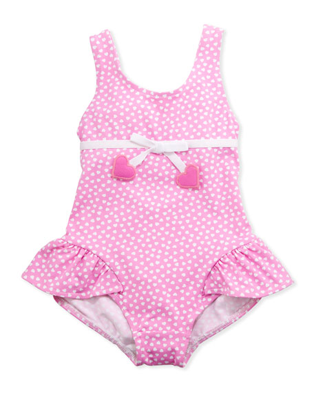 Heart One-Piece Swimsuit, Pink, 2T-4T