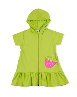 Florence Eiseman Strawberry Festival Jersey Coverup, Lime, 2T-4T