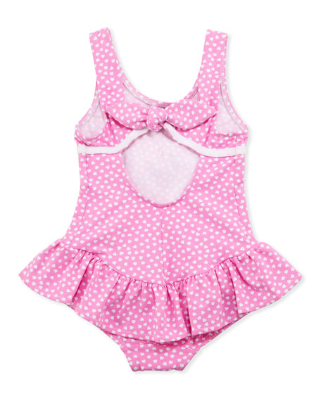 Heart One-Piece Swimsuit, Pink, Sizes 4-6X