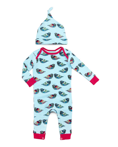 Pearl Jewel One-Piece Pajamas & Hat, 3-24 Months