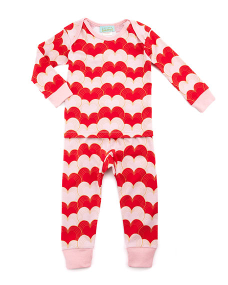 Gatsby Hearts Pajamas, Red, 3-24 Months