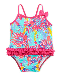 Lilly Pulitzer Isa Tropical Ruffle-Trim Swimsuit