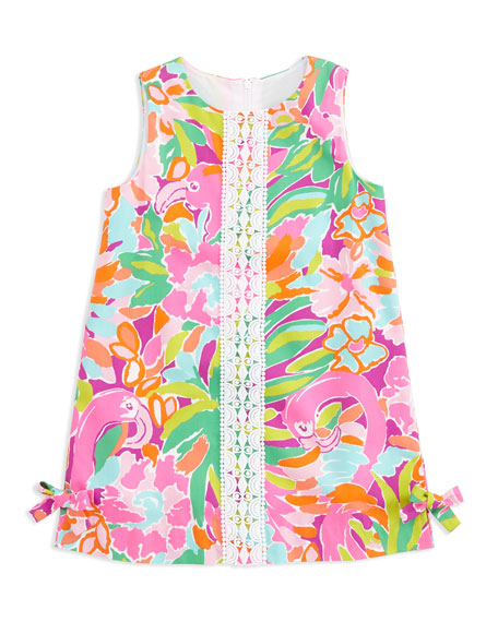 Flamingo-Print Little Lilly Classic Shift Dress, Sizes 2-6