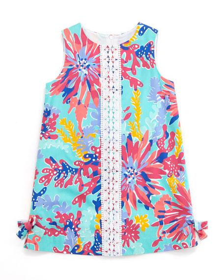 Painterly-Print Little Lilly Classic Shift Dress, Aqua, Sizes 2-6