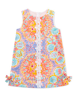 Lilly Pulitzer Floral & Coral-Print Little Lily Classic Shift Dress, Light Blue, Sizes 2-6