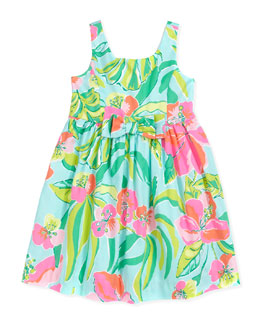 Lilly Pulitzer Little Kingston Floral-Print Dress, Blue, Sizes 2-6