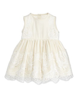 Dolce & Gabbana Sleeveless Lace Dress & Bloomers, White, 3-18 Months