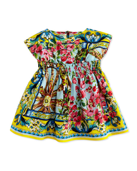 Floral-Print Poplin Dress w/Bloomers, 3-18 Months