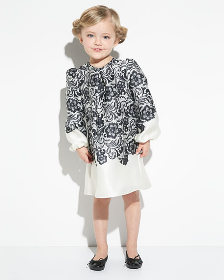 Lace-Print Long-Sleeve A-Line Dress, Black/White, Girls' 2T-6Y
