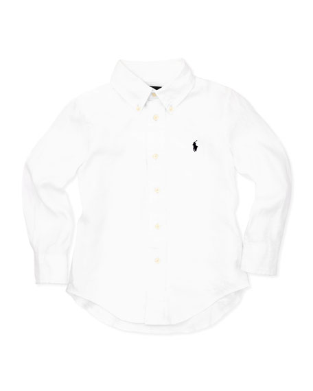 Linen Long-Sleeve Blake Shirt, White, 4-7