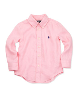 Ralph Lauren Childrenswear Linen Long-Sleeve Blake Shirt, Pink, 4-7
