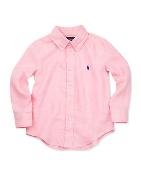 Linen Long-Sleeve Blake Shirt, Pink, 4-7