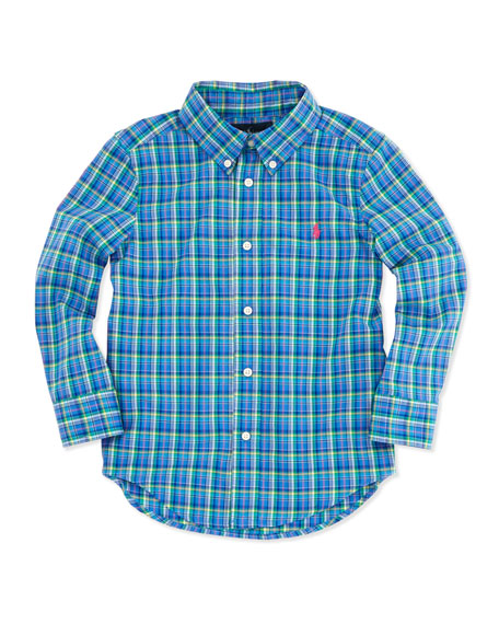 Plaid Long-Sleeve Blake Shirt, Blue Multi, 4-7