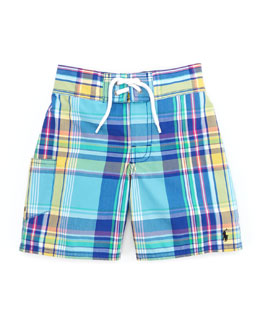 Ralph Lauren Childrenswear Tulum Plaid Swim Trunks, Blue/Multi, Sizes 4-7