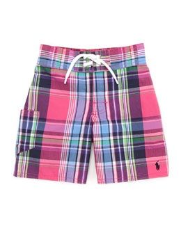 Ralph Lauren Childrenswear Tulum Plaid Swim Trunks, Pink/Multi, Sizes 4-7