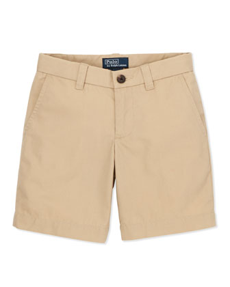 Preppy Cotton Shorts, Khaki, 2T-3T