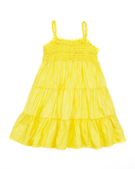 Crochet-Detail Sleeveless Sundress, Maitai Yellow, 4-6X