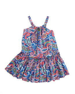 Ralph Lauren Childrenswear Little Paisley Sleeveless Sundress, Royal, 4-6X