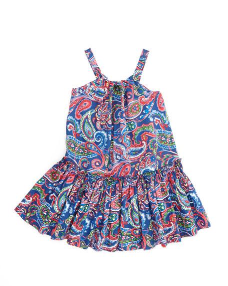 Little Paisley Sleeveless Sundress, Royal, 4-6X