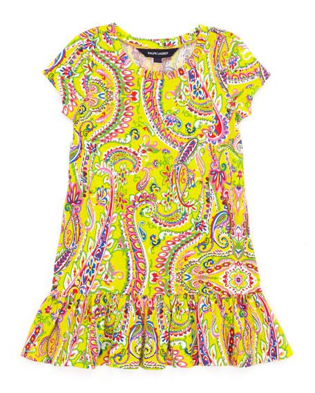 Paisley-Print Short-Sleeve T-Shirt Dress, Yellow, Sizes 4-6X
