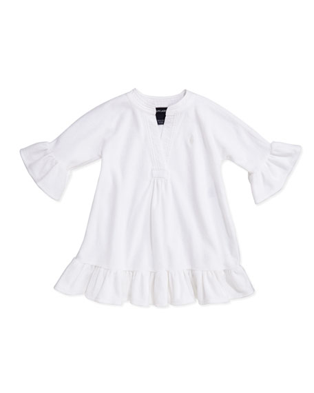 Terry-Cloth Ruffle-Trim Coverup, White, Sizes 4-6X