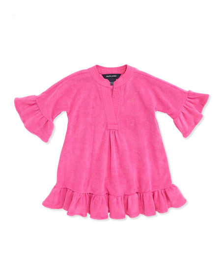 Terry-Cloth Ruffle-Trim Coverup, Belmont Pink, 2T-3T