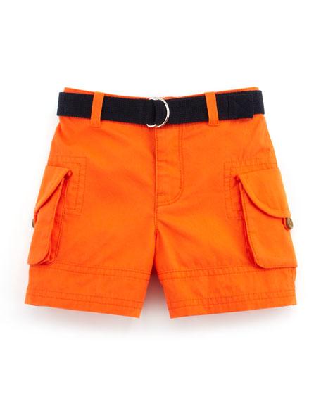 Striped Shirt & Cargo Shorts Set, Blue, 9-24 Months