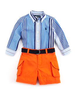 Ralph Lauren Childrenswear Striped Shirt & Cargo Shorts Set, Blue, 9-24 Months