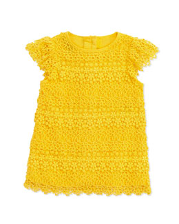 Ralph Lauren Childrenswear Lace Tiered Shift Dress, Sunfish Yellow, 9-24 Months