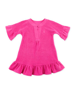 Ralph Lauren Childrenswear Terry Cloth Ruffle-Trim Cover Up, Belmont Pink, 9-24M