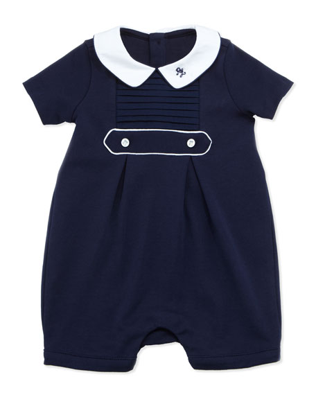 Pleated Bubble Shortall, French Navy, 3-9 Months